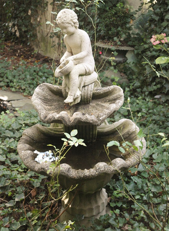 Cement Fountain Of Figure And Shells American Circa 1900 At 1stdibs