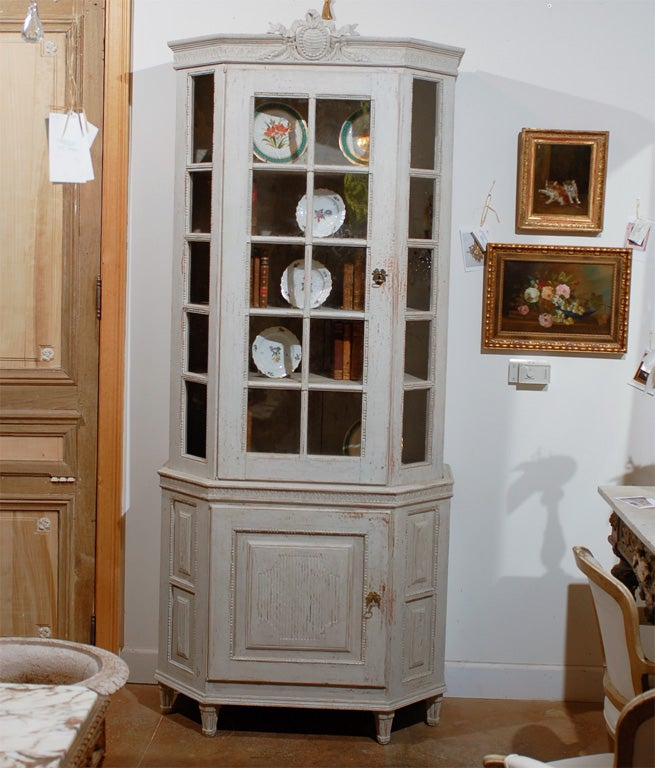 Painted Mid 19th Century Vitrine Bookcase - Two Pieces - Original Paint- In the Manner of Louis XVI. One of a kind.  Visit our site at www.jadamsantiques.com