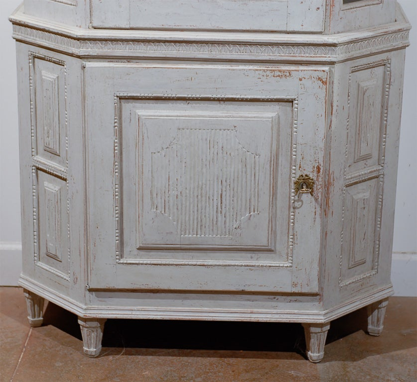French Painted Mid 19th Century Vitrine Bookcase -Two Pieces For Sale
