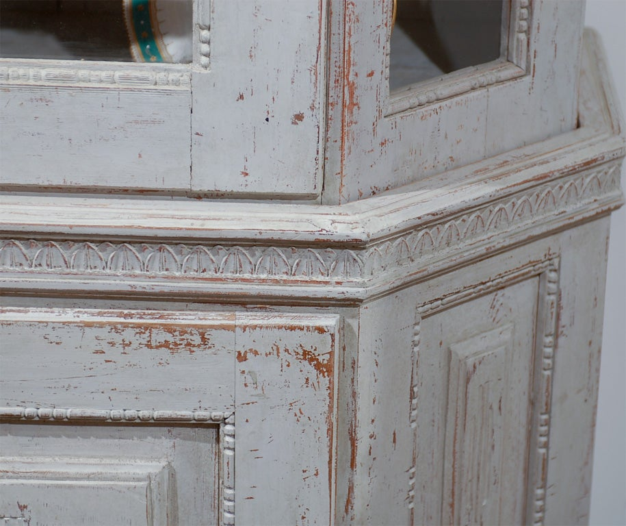 Painted Mid 19th Century Vitrine Bookcase -Two Pieces For Sale 1