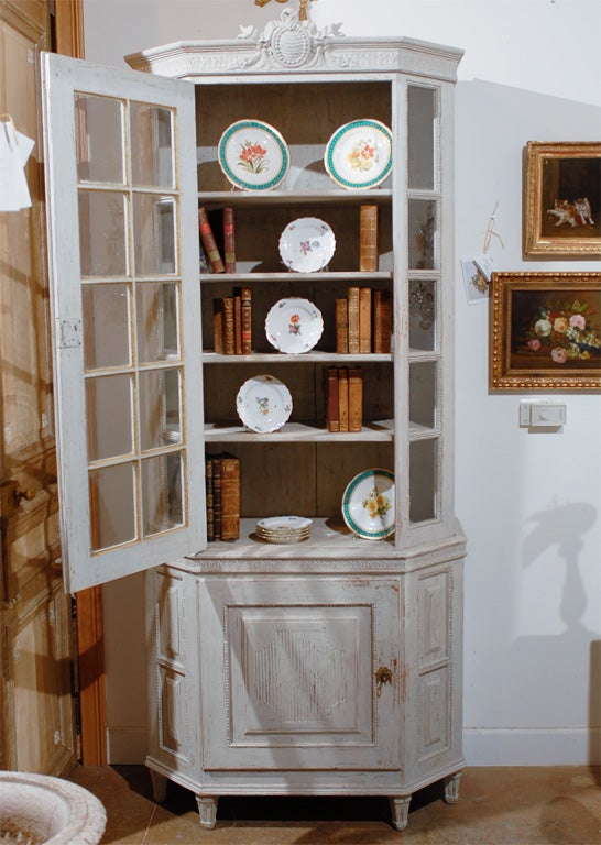 Painted Mid 19th Century Vitrine Bookcase -Two Pieces For Sale 3