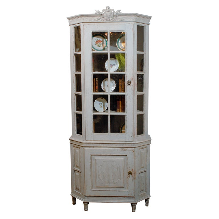 Painted Mid 19th Century Vitrine Bookcase -Two Pieces For Sale
