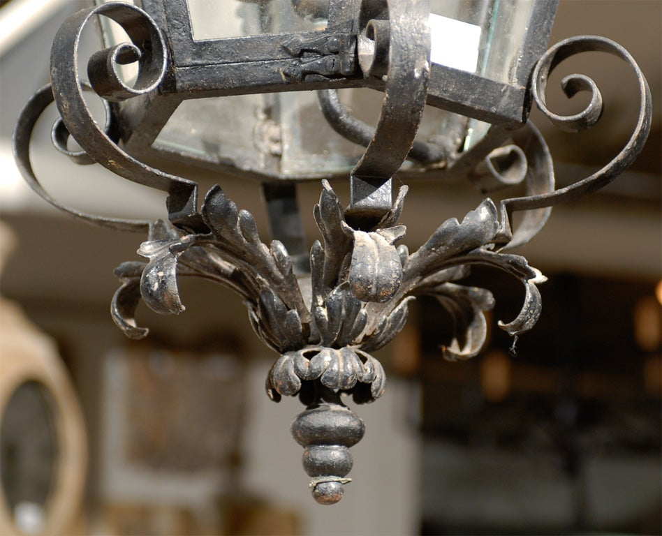 French Vintage Wrought Iron Three-Light Lantern With Crown Motif and Scrolls In Good Condition For Sale In Atlanta, GA