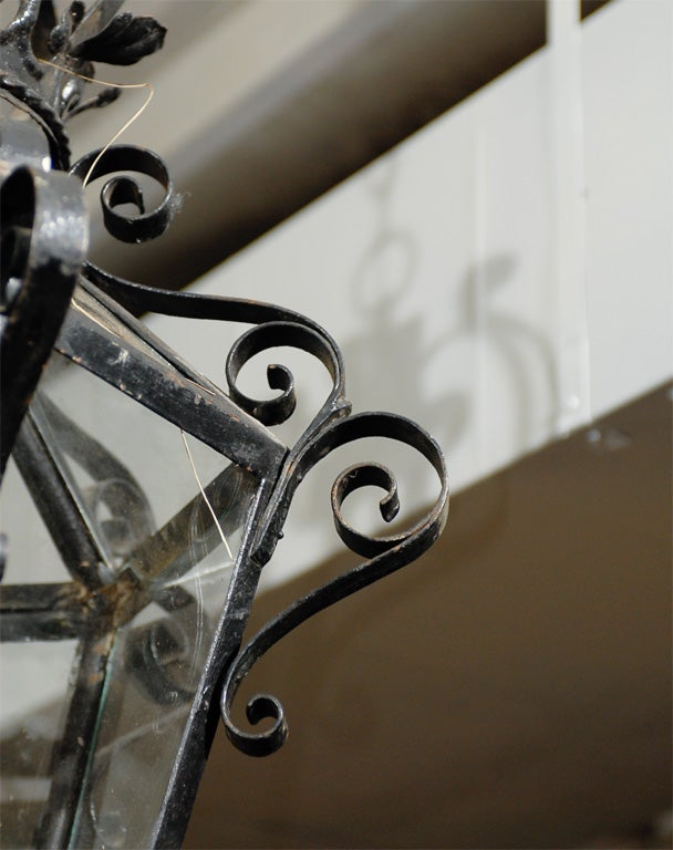 French Vintage Wrought Iron Three-Light Lantern With Crown Motif and Scrolls For Sale 1
