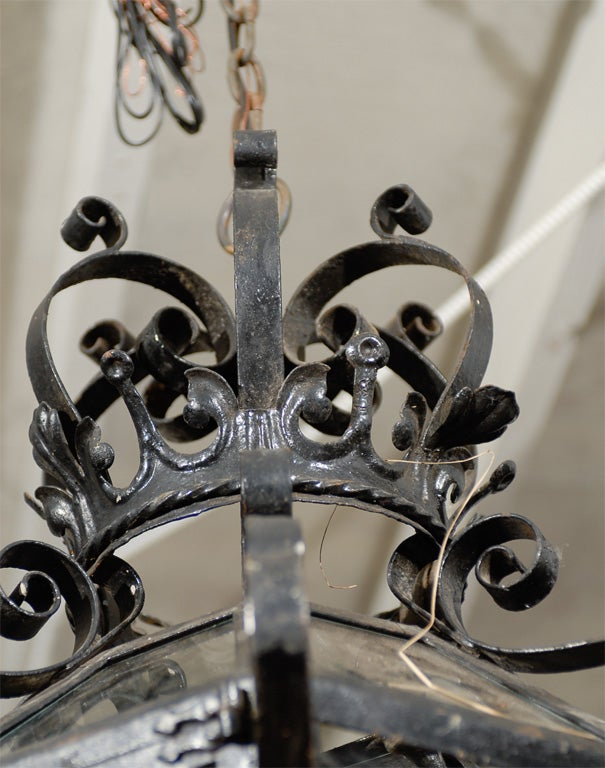 French Vintage Wrought Iron Three-Light Lantern With Crown Motif and Scrolls For Sale 3