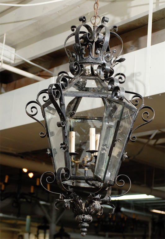 French Vintage Wrought Iron Three-Light Lantern With Crown Motif and Scrolls For Sale 4