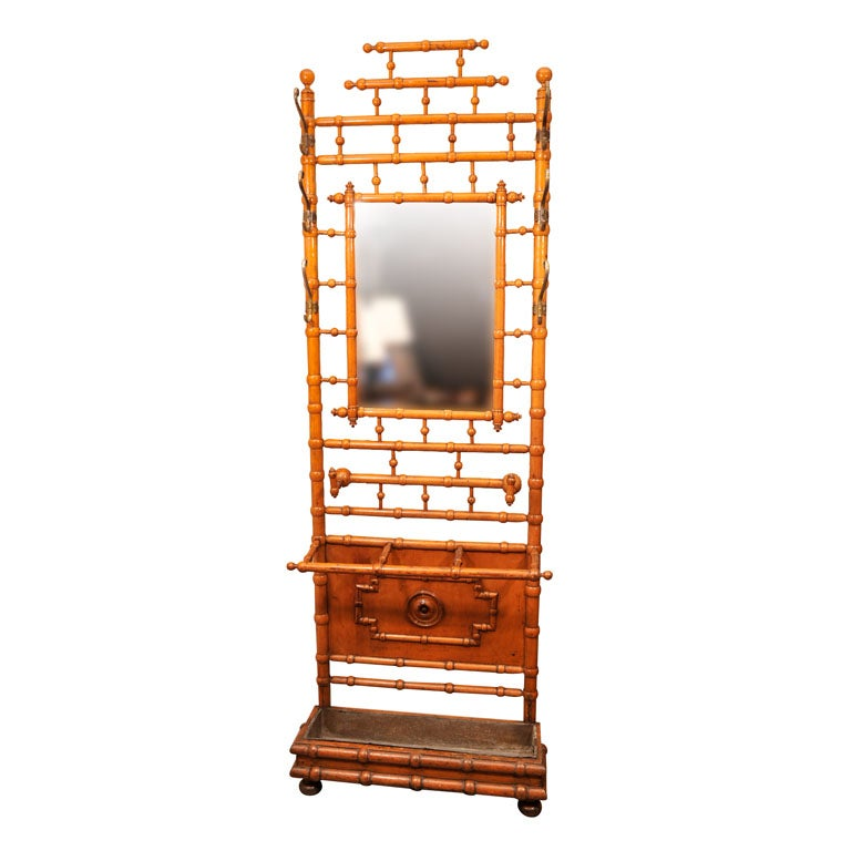 Faux Bamboo Mirrored Hall Stand France Late 19th Century