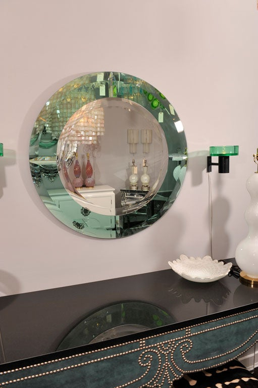 Custom round beveled mirror with green glass border in the manner of Karl Springer. Customization is available in different size, and colors.