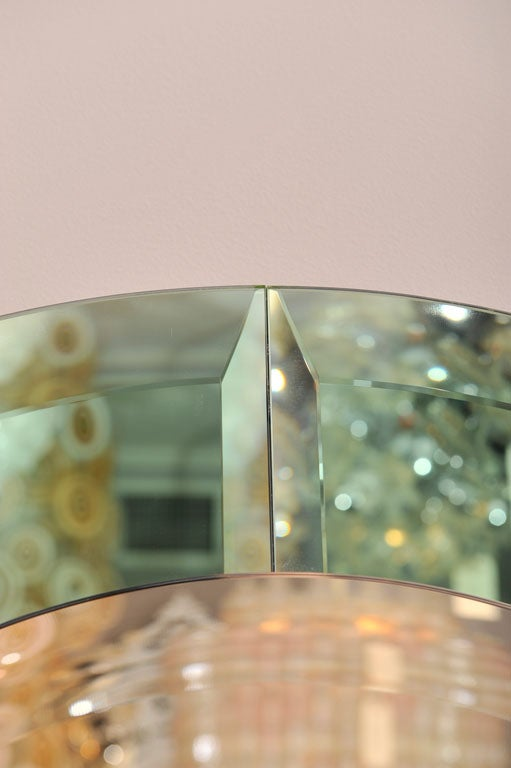 Contemporary Round Beveled Mirror with Green Glass Border in the Manner of Karl Springer For Sale