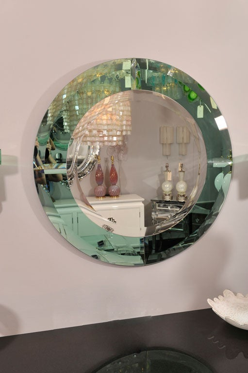 Modern Round Beveled Mirror with Green Glass Border in the Manner of Karl Springer For Sale