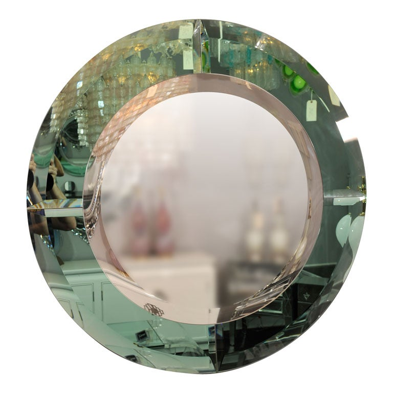 Round Beveled Mirror with Green Glass Border in the Manner of Karl Springer For Sale