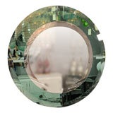 Custom Round Beveled Green Glass Mirror