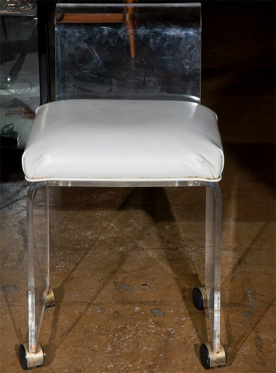 Lucite vanity chair with casters 2