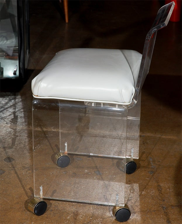 Lucite vanity chair with casters 5