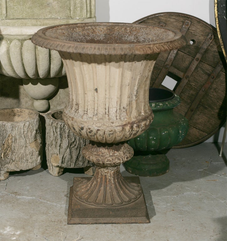 Classic Campana style cast iron garden urns with remains of the original paint