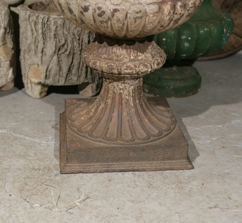 French Large Pair of Cast Iron Fluted Urns For Sale