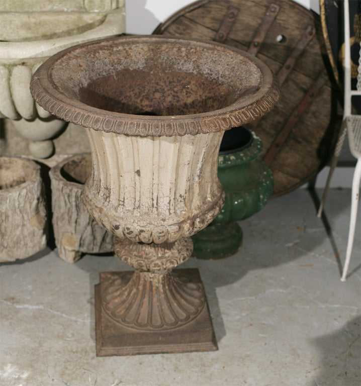 Large Pair of Cast Iron Fluted Urns For Sale 1