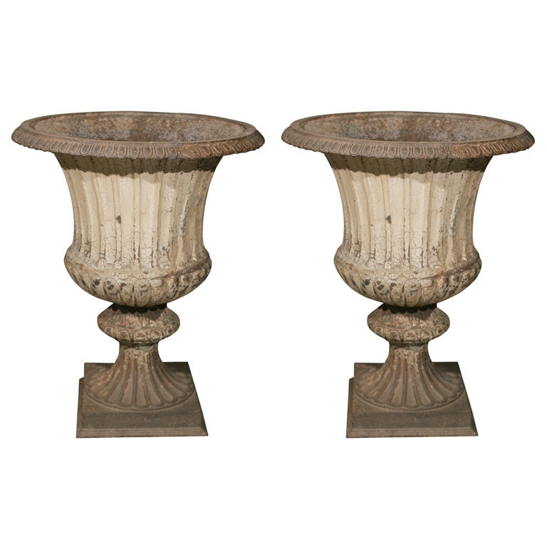 Large Pair of Cast Iron Fluted Urns For Sale