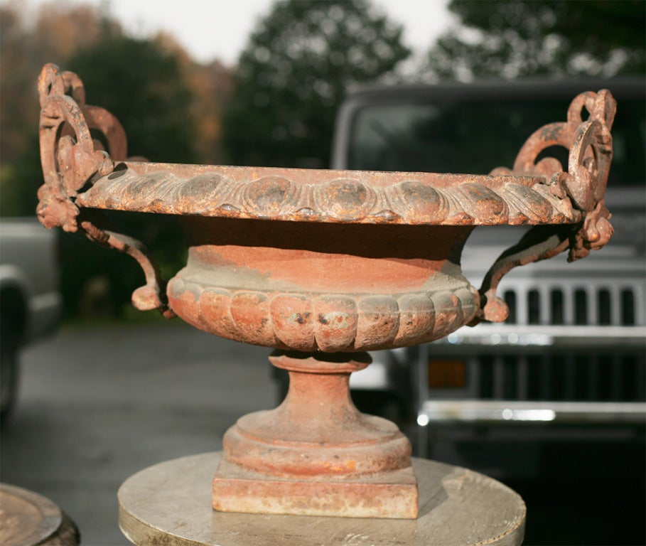 Pair of Ornate Cast Iron Garden Urns In Excellent Condition For Sale In Mt Kisco, NY
