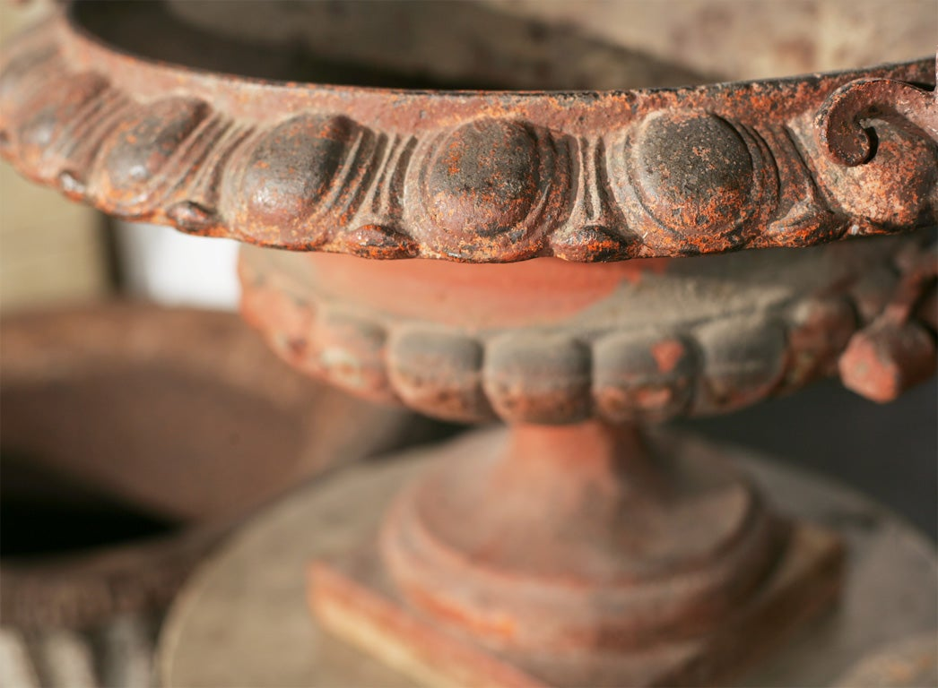 Pair of Ornate Cast Iron Garden Urns For Sale 1
