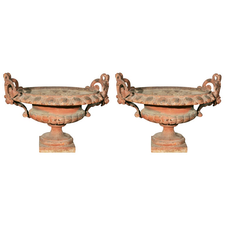 Pair of Ornate Cast Iron Garden Urns For Sale
