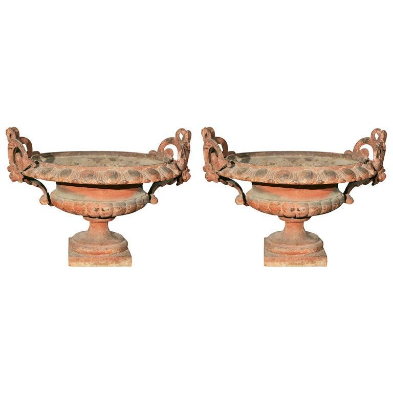 Pair of Ornate Cast Iron Garden Urns