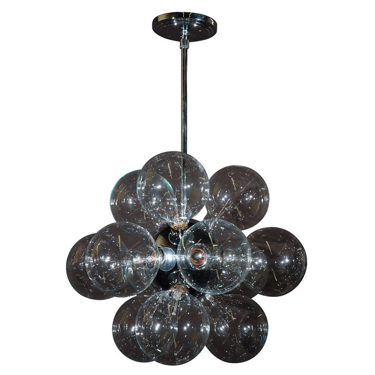 twelve light exposed bulb chandelier by achille. Black Bedroom Furniture Sets. Home Design Ideas
