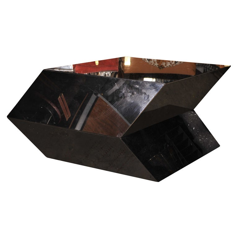 Black coffee table with great geometric lines at 1stdibs for Geometric coffee table