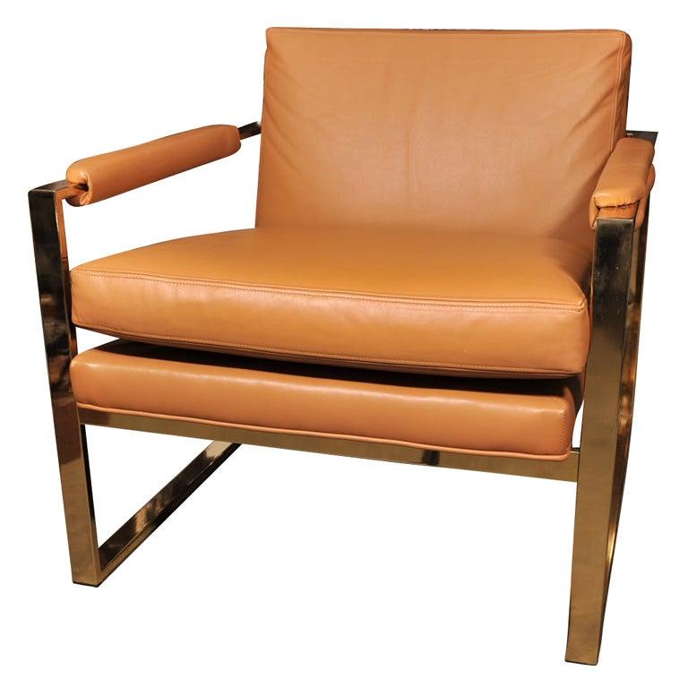 Milo Baughman Brass Arm Chairs At 1stdibs