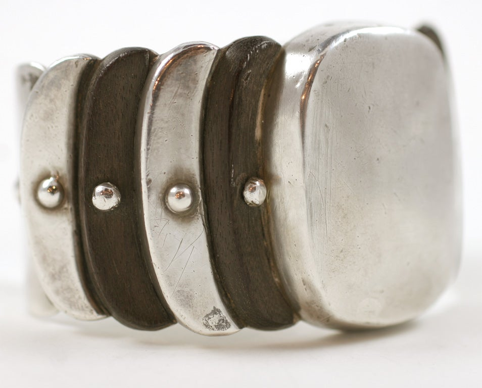 Mexican William Spratling Wood and Silver Cuff Bracelet For Sale