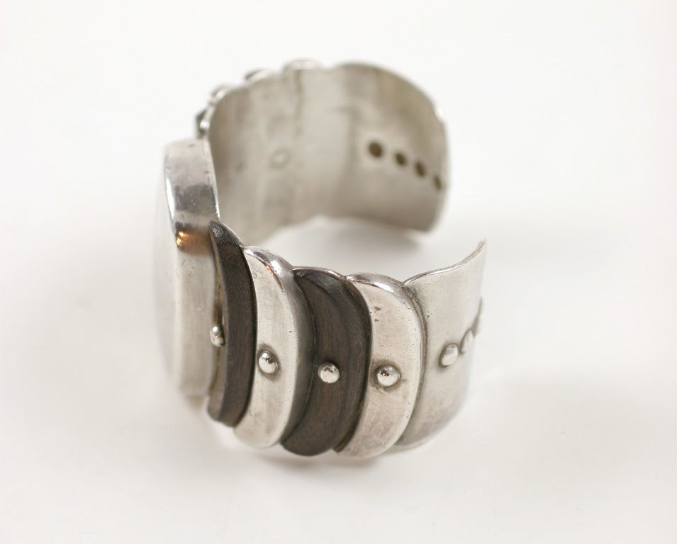 Mid-20th Century William Spratling Wood and Silver Cuff Bracelet For Sale