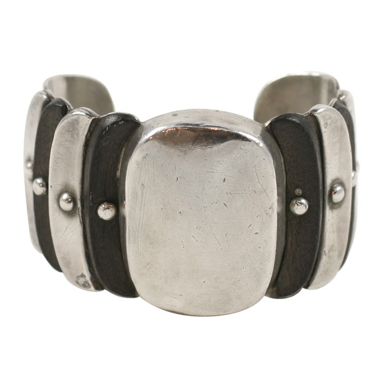 William Spratling Wood and Silver Cuff Bracelet For Sale