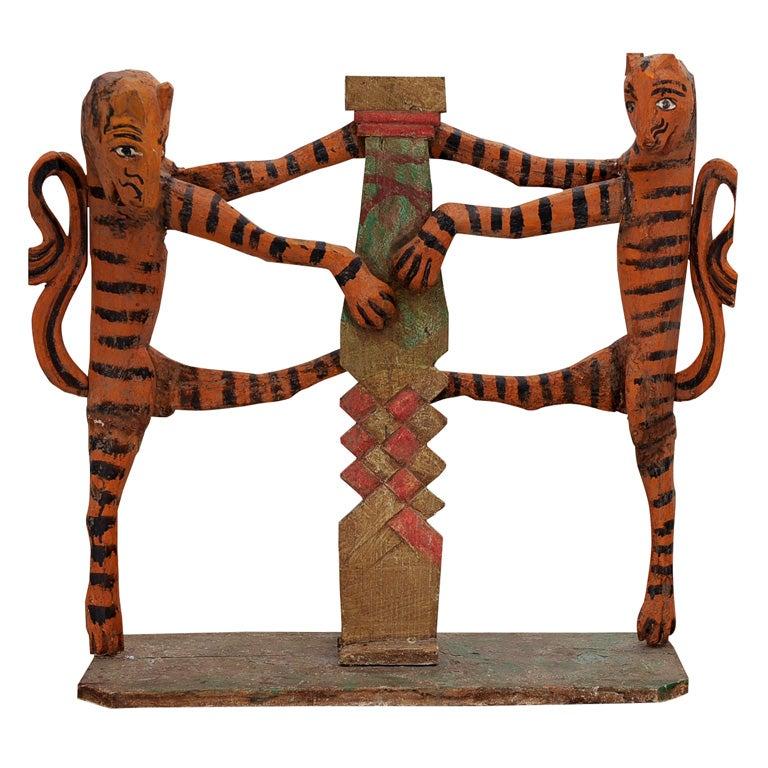 Polychrome carved wood guatemalan folk art sculpture at