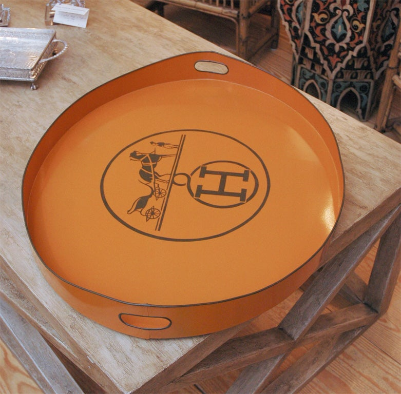 """Vintage Hermes Coffee Table Book: Vintage Style Hand Painted Tole Tray, """"Hermes Inspired"""" At"""