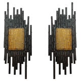 Brutal Iron and Amber Glass Sconces