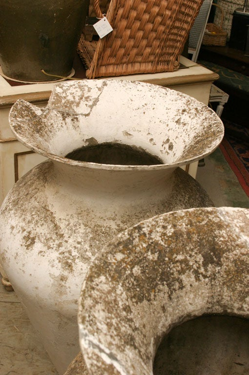 Pair of Oversize French Urns In Distressed Condition For Sale In Great Barrington, MA
