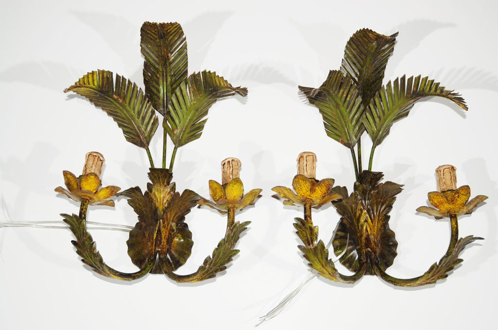 Pair of Palm Leaf Wall Sconces at 1stdibs