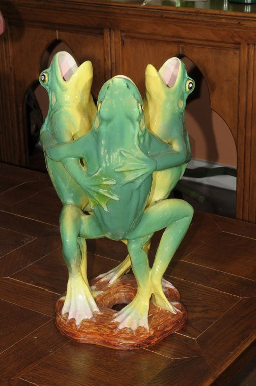 Majolica Dancing Frogs Centerpiece By Clement Massier At