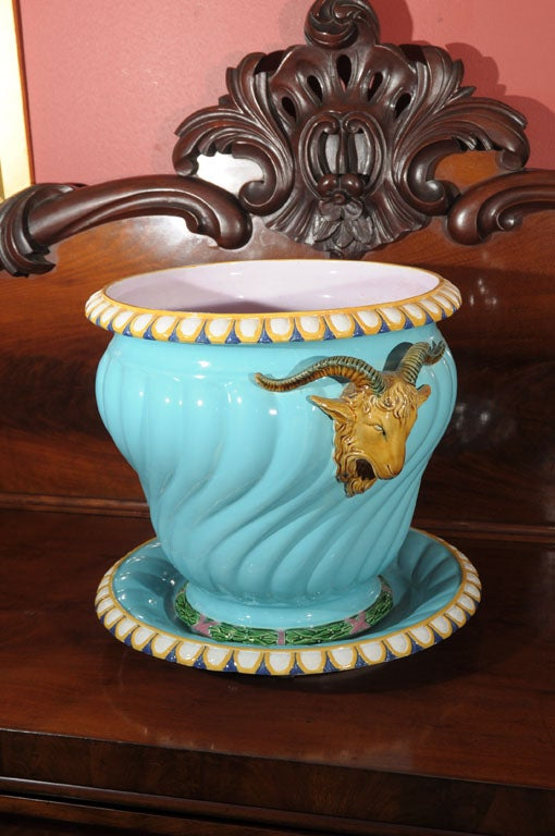 English Majolica Pot with Ram's Heads by Minton For Sale