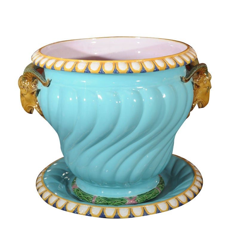 Majolica Pot with Ram's Heads by Minton
