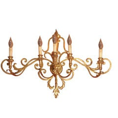 Lighted Wall Fixture of Gilt Metal (Scroll Design)