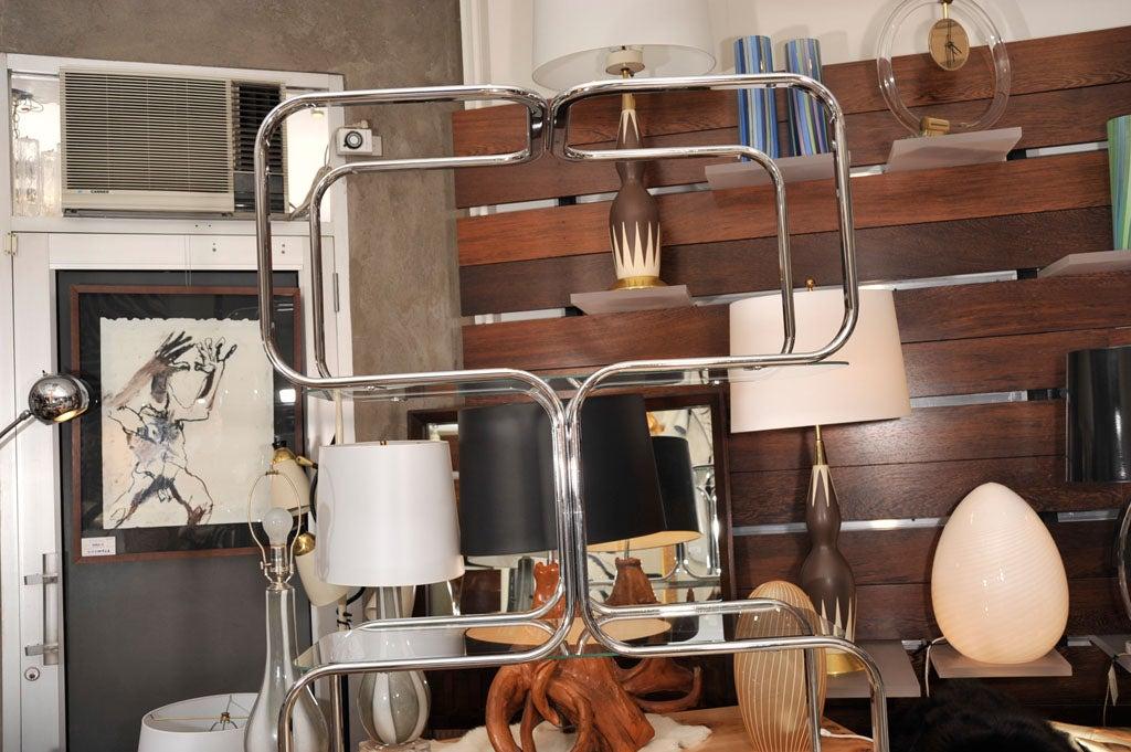 Polished Étagère, Mid-Century Chrome Shelving Unit, Mid-Century Modern, C 1960, Chrome For Sale
