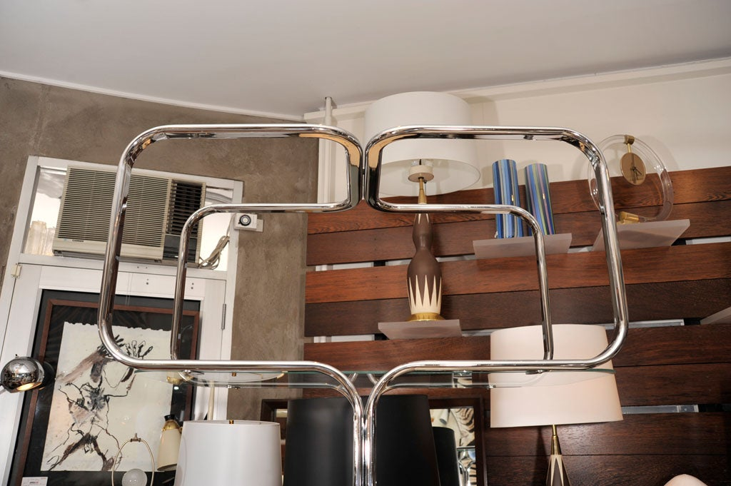 Étagère, Mid-Century Chrome Shelving Unit, Mid-Century Modern, C 1960, Chrome In Good Condition For Sale In New York, NY