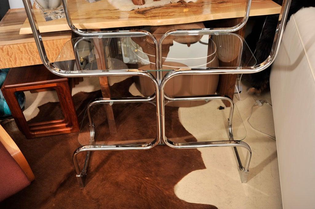 Mid-20th Century Étagère, Mid-Century Chrome Shelving Unit, Mid-Century Modern, C 1960, Chrome For Sale