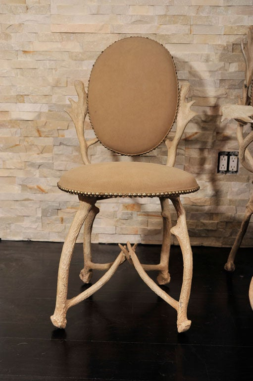 Arthur Court Faux Antler Aluminum 6 Dining Chair Set At