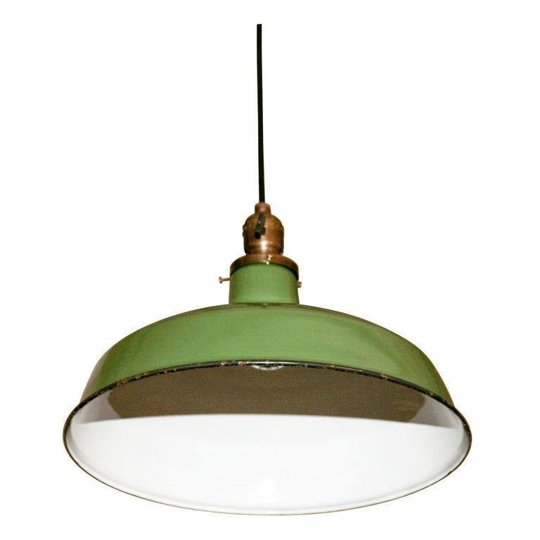 Green Enamel Wall Lights : A Matched Pair of Light Green Enamel Pendant Fixtures at 1stdibs