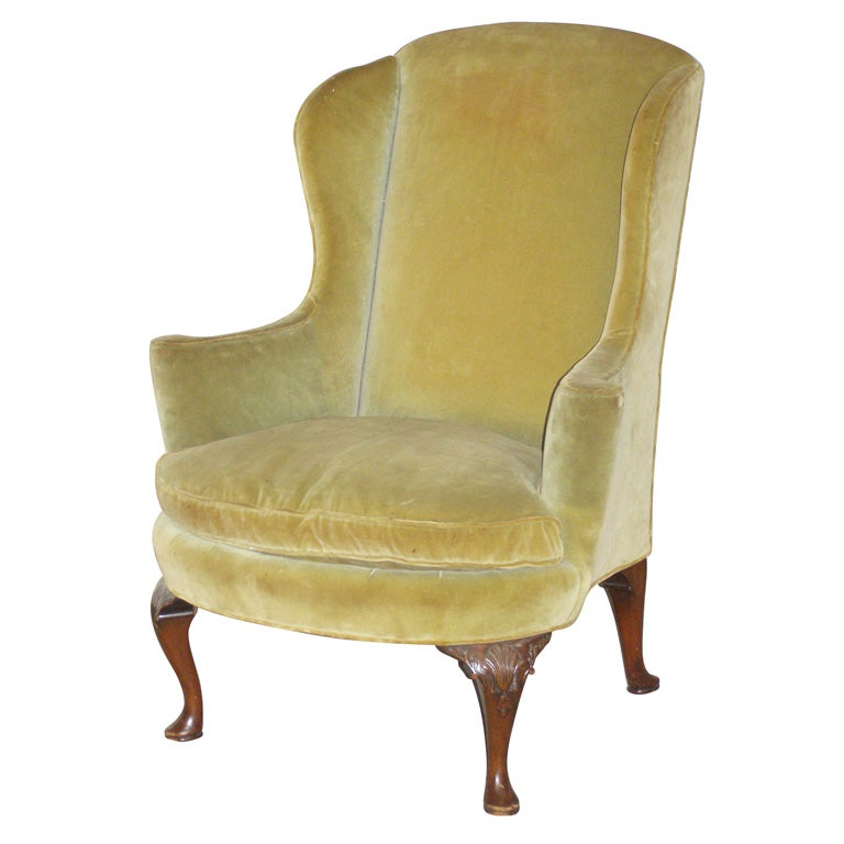 Queen Anne Georgian Style Wing Chair at 1stdibs