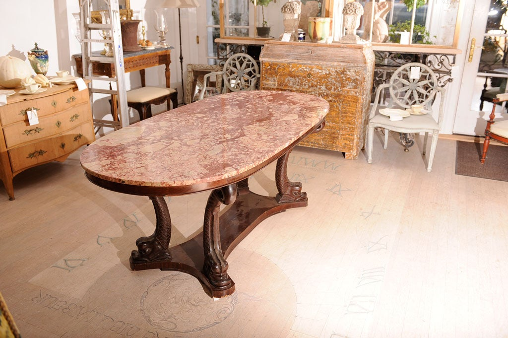 Italian Dolphin Oval Table with Rose Marble Top For Sale  : DBR1315 from 1stdibs.com size 1024 x 681 jpeg 141kB