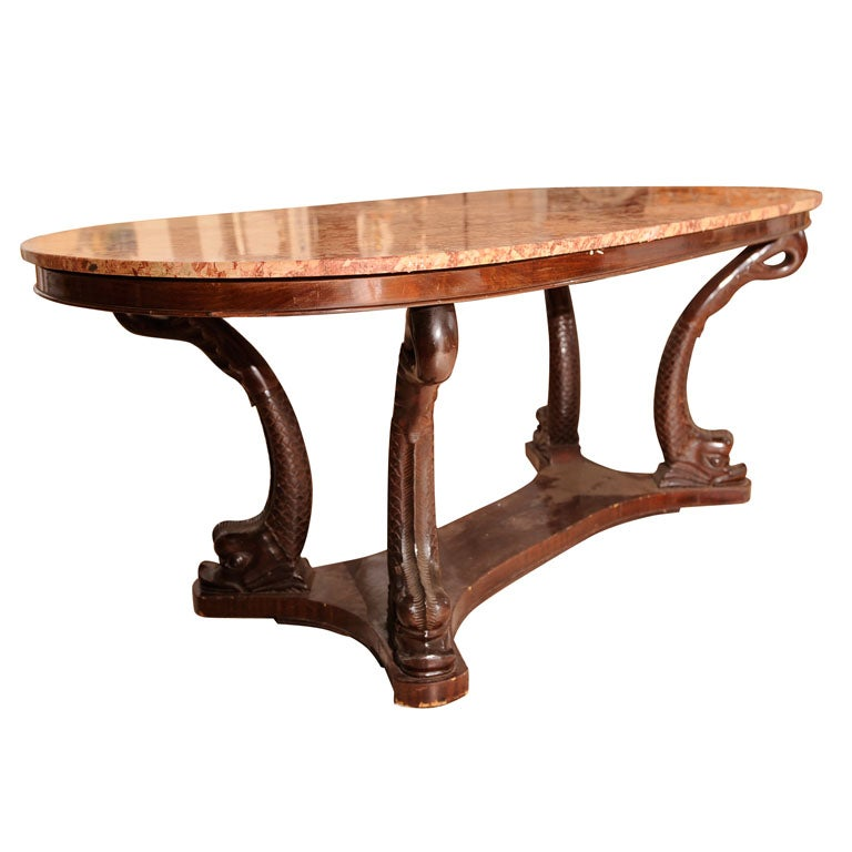 Italian Dolphin Oval Table with Rose Marble Top For Sale  : x from 1stdibs.com size 768 x 768 jpeg 45kB