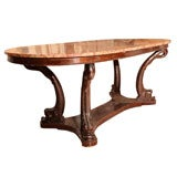 Italian Dolphin Oval Table with Rose Marble Top